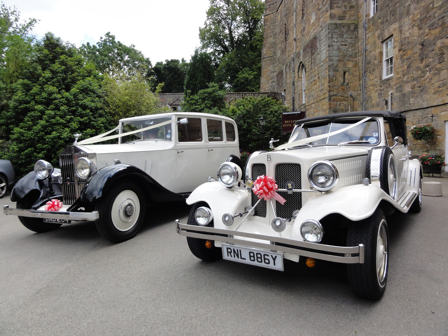 1933 style vintage wedding car with Rolls Royce Limo Lumley Castle
