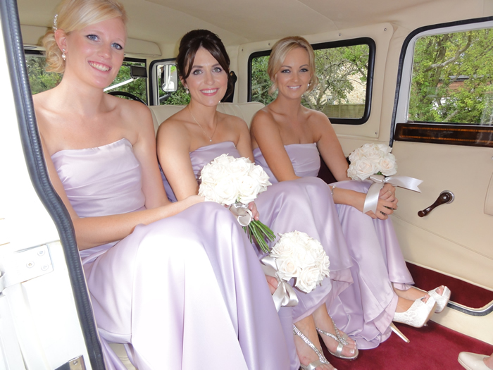car interior bridal party
