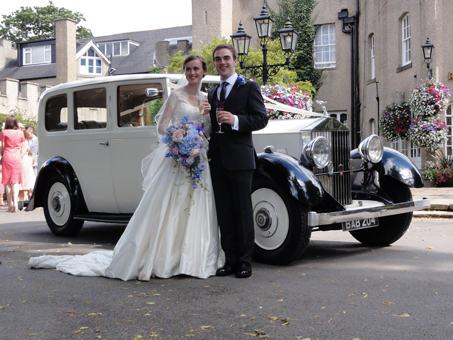 Rolls Royce Wedding Car in Durham Ramside Hall with couple